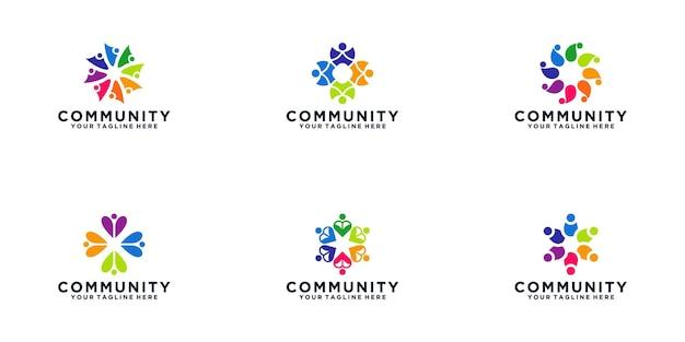 Plantilla de diseño de logotipo abstracto de comunidad de personas