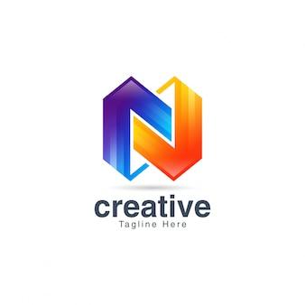 Plantilla de diseño de logotipo abstracto creativo vibrante letra n