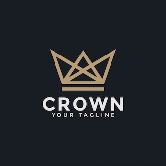 Plantilla de diseño de logotipo abstracto lujo corona royal king queen line