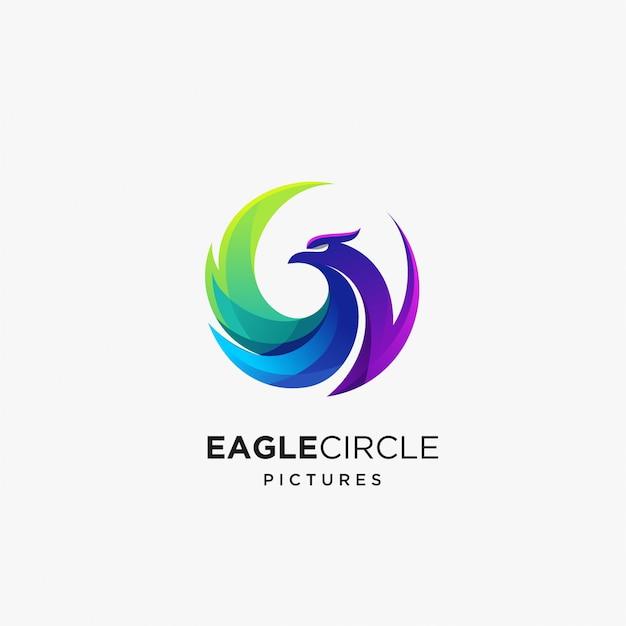 Plantilla de diseño de logotipo de águila colorida