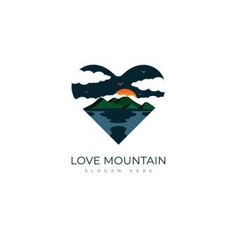Plantilla de diseño de logotipo de amor de montaña