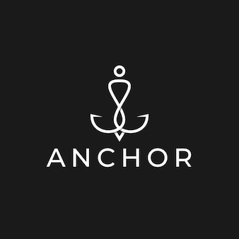 Plantilla de diseño de logotipo de ancla minimalista simple con color blanco