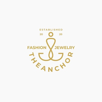 Plantilla de diseño de logotipo de ancla de oro de lujo