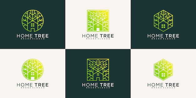 Plantilla de diseño de logotipo de árbol de casa abstracta con estilo de arte de línea moderna vector premium