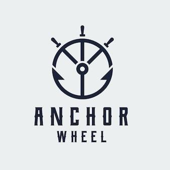 Plantilla de diseño de logotipo de arte de línea de rueda de ancla y barco