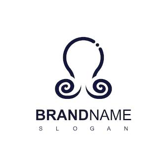 Plantilla de diseño de logotipo blue line octopus