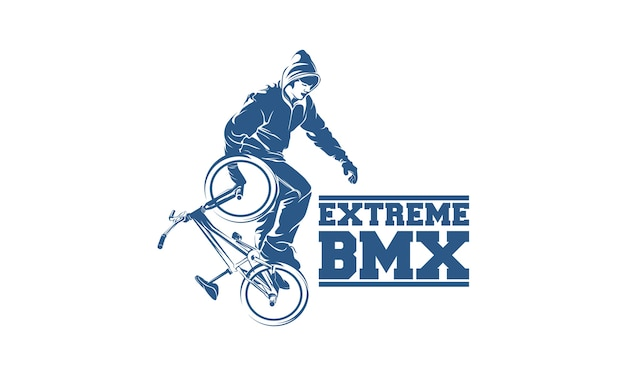 Plantilla de diseño de logotipo de bmx de estilo libre