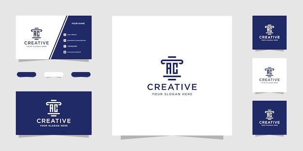 Plantilla de diseño de logotipo de bufete de abogados de ac y tarjeta de visita