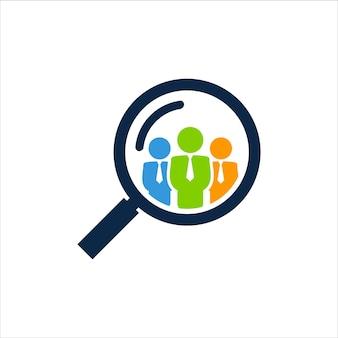 Plantilla de diseño de logotipo de búsqueda de personas