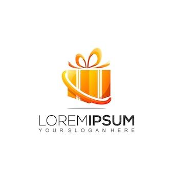 Plantilla de diseño de logotipo de caja de regalo