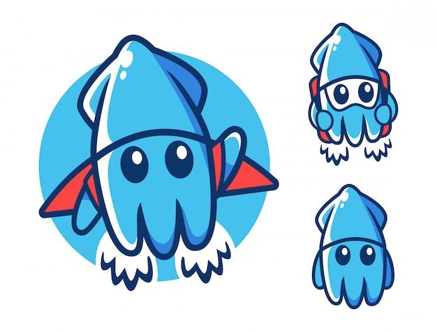 Plantilla de diseño de logotipo de calamar volador