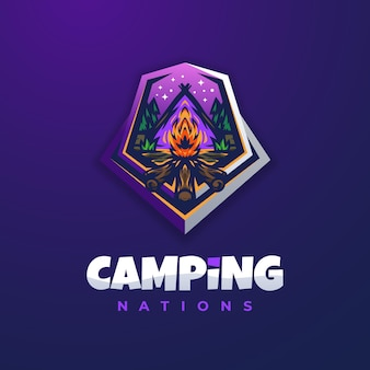 Plantilla de diseño de logotipo de camping fuego púrpura