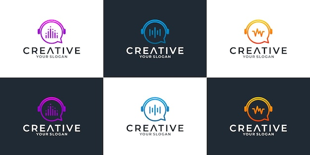 Plantilla de diseño de logotipo de chat de música para su comunidad corporativa o grupal