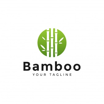Plantilla de diseño de logotipo circle green bamboo