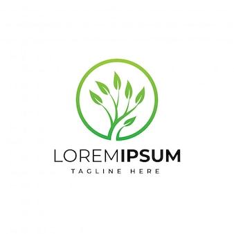 Plantilla de diseño de logotipo de círculo árbol naturaleza