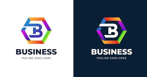 Plantilla de diseño de logotipo colorido letra b
