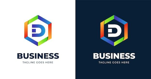 Plantilla de diseño de logotipo colorido letra d