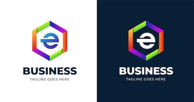 Plantilla de diseño de logotipo colorido letra e