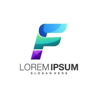Plantilla de diseño de logotipo colorido letra f