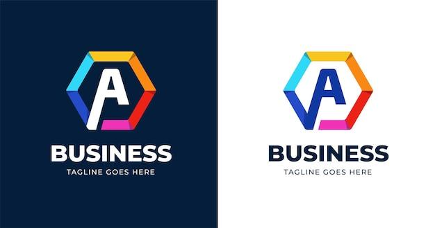 Plantilla de diseño de logotipo colorido letra a