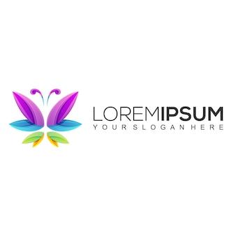 Plantilla de diseño de logotipo colorido de mariposa