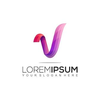 Plantilla de diseño de logotipo colorido moderno letra v