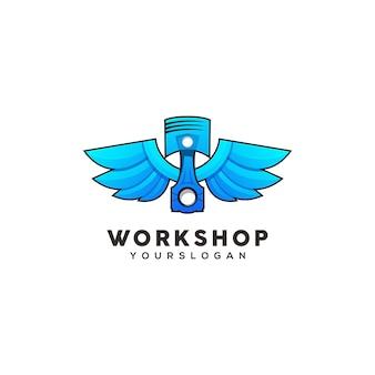 Plantilla de diseño de logotipo colorido pistón