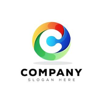 Plantilla de diseño de logotipo colorido tecnología inicial letra c