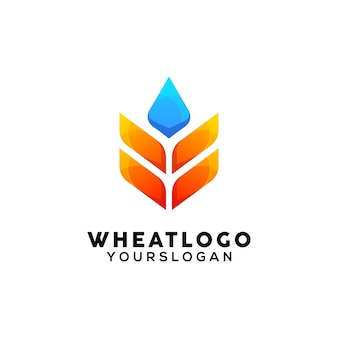 Plantilla de diseño de logotipo colorido trigo