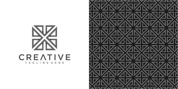 Plantilla de diseño de logotipo de comunidad creative arrow con patrón simple