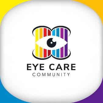 Plantilla de diseño de logotipo de comunidad de cuidado de ojos colorido