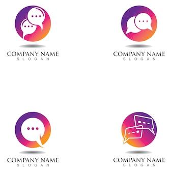 Plantilla de diseño de logotipo de concepto de chat de burbujas
