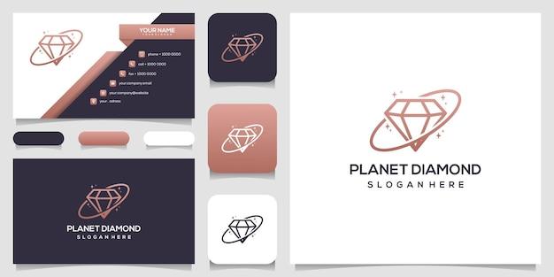 Plantilla de diseño de logotipo de concepto de diamante de planeta creativo y diseño de tarjeta de visita