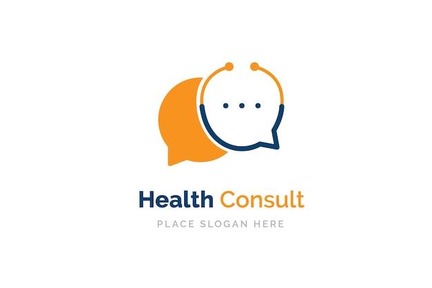 Plantilla de diseño de logotipo de consulta de salud. estetoscopio aislado en el símbolo de chat de burbujas.