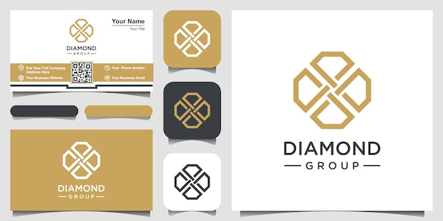 Plantilla de diseño de logotipo de creative diamond concept y diseño de tarjeta de visita.