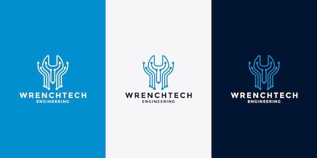 Plantilla de diseño de logotipo de creative wrench tech para su taller mecánico y de equipos