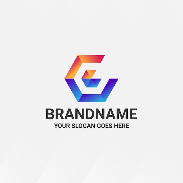 Plantilla de diseño de logotipo degradado de letra c