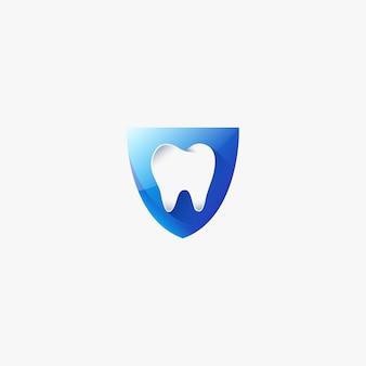 Plantilla de diseño de logotipo dental de diente médico escudo médico