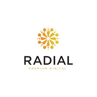 Plantilla de diseño de logotipo digital radial abstracto