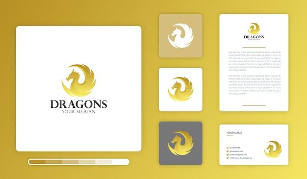 Plantilla de diseño de logotipo de dragones