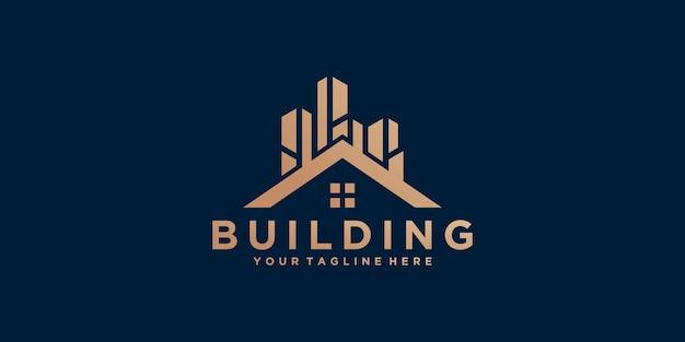 Plantilla de diseño de logotipo de edificio con color dorado.