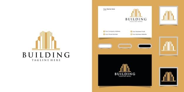 Plantilla de diseño de logotipo de edificio de lujo y tarjeta de visita