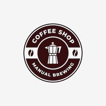 Plantilla de diseño de logotipo de emblema moka pot de cafetera manual vintage