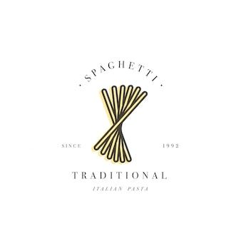 Plantilla de diseño de logotipo y emblema o insignia. pasta italiana - espagueti. logotipos lineales.