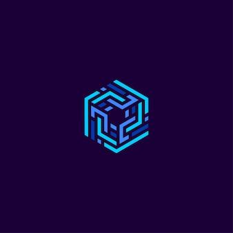 Plantilla de diseño de logotipo de empresa de tecnología de línea de cubo