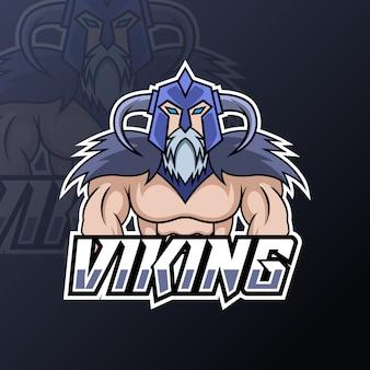 Plantilla de diseño de logotipo de esport vikingo deportivo enojado con armadura, casco, barba espesa y bigote