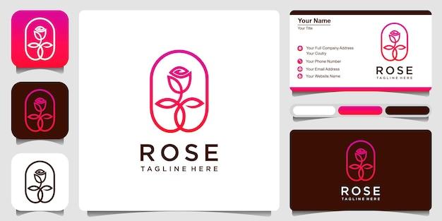 Plantilla de diseño de logotipo de estilo de arte de línea de rosas