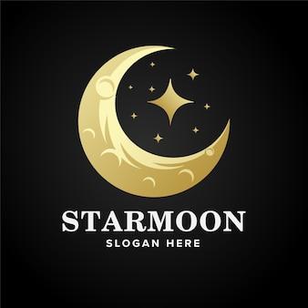 Plantilla de diseño de logotipo de estrella y luna de lujo