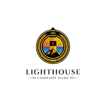 Plantilla de diseño de logotipo de faro