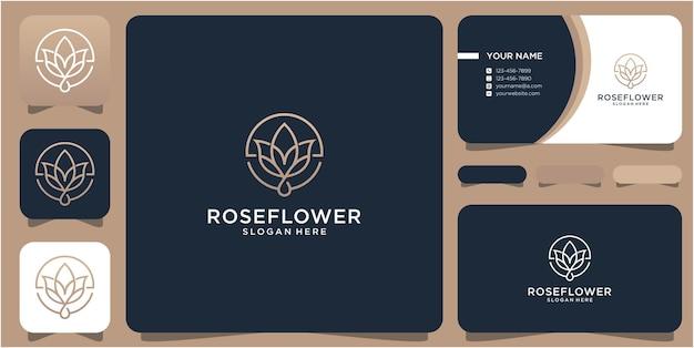 Plantilla de diseño de logotipo de flor con concepto de arte lineal y tarjeta de businnes
